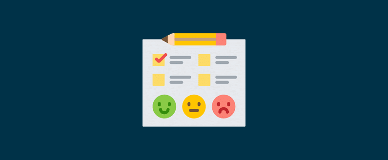 Checklist with a box checked and a happy, ambivalent, and sad emoticon