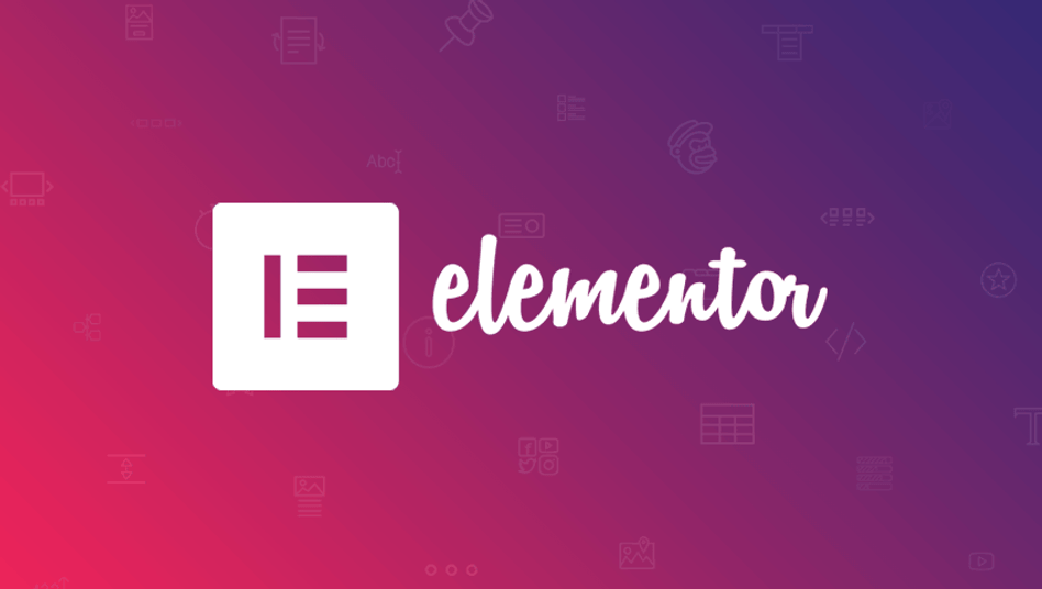 Elementor Logo on pink and purple gradiant background