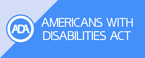 Image with American with Disabilities Act Logo and Text that read Americans With Disabilities Act