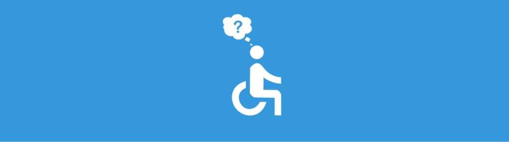 Universal Accessibility Wheelchair with Cloud and Question Mark Above Head