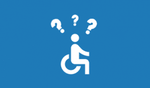 Person in wheelchair with question marks over its head