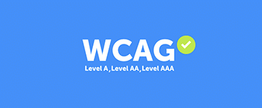 WCAG text with green checkmark and level a, level aa, and level aaa subtext