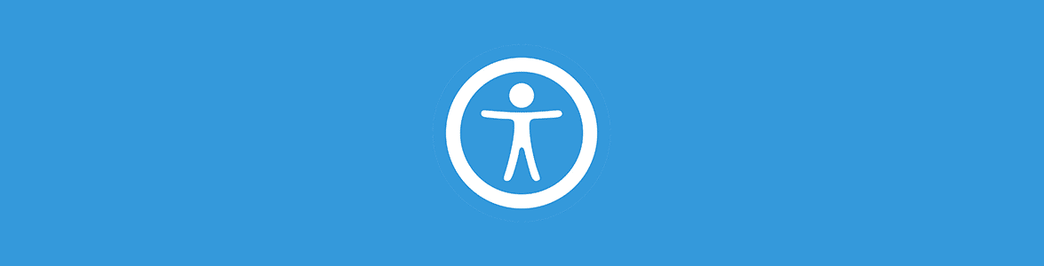 Stylized image of person with arms spread out and inside of a circle