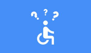 Accessibility wheelchair logo with question marks over head