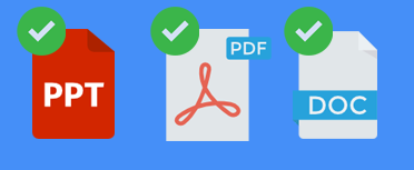 Images of PDF, PowerPoint, and Word documents