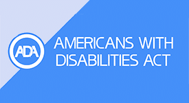American with Disabilities Act on Blue Background
