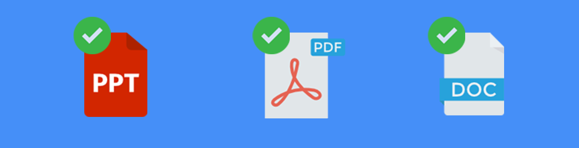 Stylized Image Representing PDF, PowerPoint, and Word Document