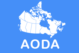 Map of Canada with letters reading AODA