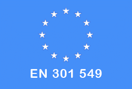 EU Flag with letters reading EN 301 549 on light blue background