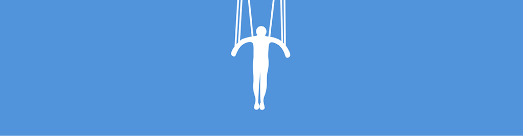 Silhouette of person dangling by strings