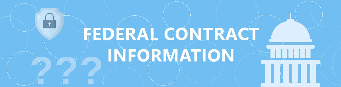 Image with text reading federal contract information